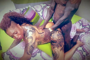 Ebony bull ripping vulva of inked..