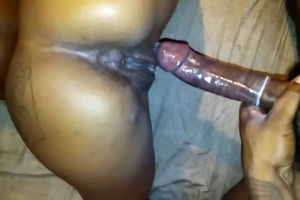 Unexperienced ebony poon creams during..