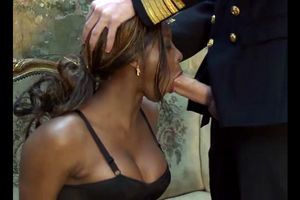 Marine officer thrusts his enormous..